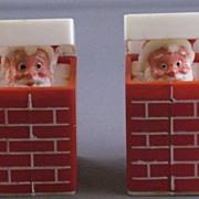 Vintage Plastic Peeking Santas