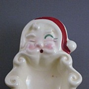 Vintage Pottery Santa Head Spoon Rest