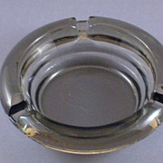 Vintage Smoked Glass Round Ashtray