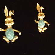 Pair of Vintage Rabbit Pins