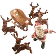 Pottery Santa With Sleigh and Four Reindeer