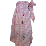 Vintage Pink and White Gingham Apron