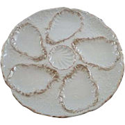 Vintage White and Gold Oyster Plate with 5 holes