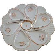 Vintage White and Gold Oyster Plate by Victoria Carlsbad Austria