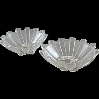 Vintage Pair of Clear Glass Salt Cellars