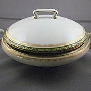 Limoges T & V Serving Bowl With Lid In Green Greek Key Pattern