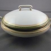 Limoges T & V Serving Bowl With Lid In Green Greek Key Pattern