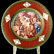 Superb Porcelain Plate about 1900 King Salomon Sacrificing to the Idols