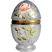 Glass Casket Egg Shape Hand Painted Enamel Decor ca. 1900