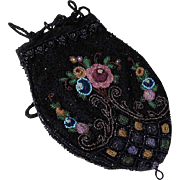 Lovely  Beaded Purse Pompadour ca. 1900 Hand Made