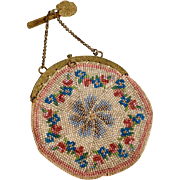 Charming Purse Chatelaine with Glass Beads ca. 1860
