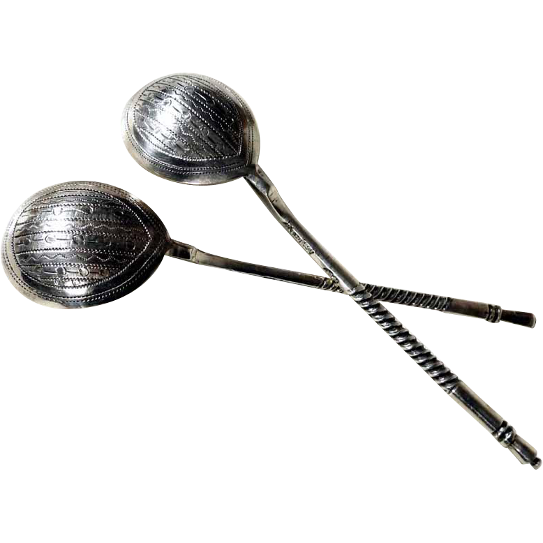 Pair of Russian Silver Spoons 1883 Moscow
