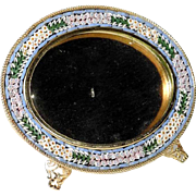 Oval Micro Mosaic Frame Daisies Italy about 1950