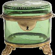 Emerald Green Venice Glass Casket ca. 1850