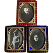 19th Century Set of Three French Bronze & Enamel Guilloche Miniature Easel Frame