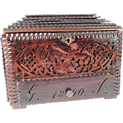 Wooden Jewelry Casket Dated 1890 Open Work Dog Horses Birds