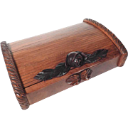 Lovely Casket Rolling Shuttle Lid and Carved Roses