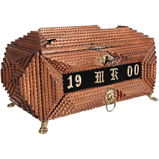 Charming Tramp Art Jewelry Casket with Drawer 1900