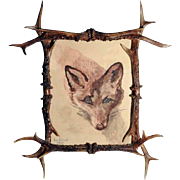 Beautiful Antler Frame Fox Water Color
