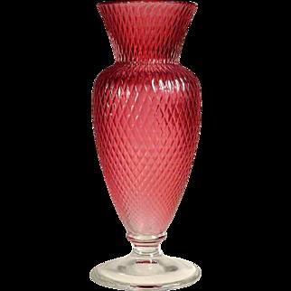 Honeycomb  Cranberry Vase Val St Lambert Crystal ca. 1930