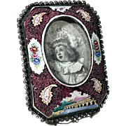 Lovely Enamel Frame with Silver Filigree Edges