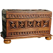 Lovely French Hand Carved Wooden Box Jewelry Casket ca. 1920