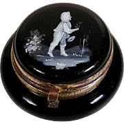 Pretty Hand Painted Black Glass Patch Box Mary Gregory