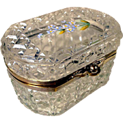 Cut Glass Casket Hand Painted Lid Forgot-me-not Flowers