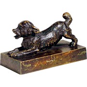 19C Charming Little Dog Figurine Paperweight Vienna Bronze