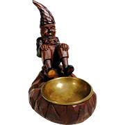 Desk Servant Dwarf w. Brass Tray Hand Carving