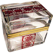 Engraved Bohemia Crystal Box Clear Glass Ruby Motifs