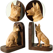 Hand Carved Bookends Dogs German Shepherd and Boxer