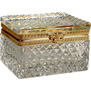 Delightful  Diamond Cut Crystal Jewelry Casket  Box