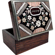 19C Wooden Casket Karlsbad Specimen Mosaic  Lid