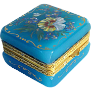 19th Century Hand Painted French Opaline Casket