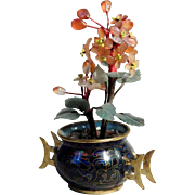 Chinese Miniature Cloisonne Vase Jade and Carnelian Plants