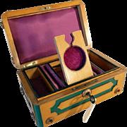 Wooden Jewelry Casket w. Watch Holder Cherry Tree ca. 1880