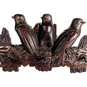 Treen Wall Rack Three Birds  Hand Carved Black Forest about 1900