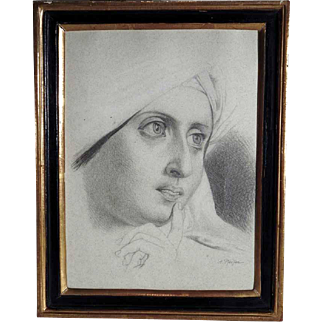 Pencil Drawing Young Woman ca. 1900 Artist Signed