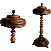 Rare Biedermeier Era Walnut Box Turned feet Stand