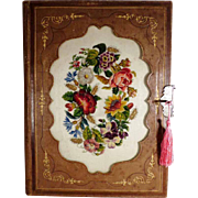 Fantastic French Portfolio Leather and Hand Stitched Embroidery Folder ca. 1850/60