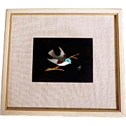 Lovely Italian Pietra Dura Plaque Bird and Dragonfly