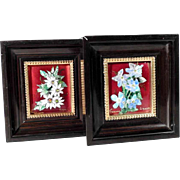 Pair of Miniature Enamel Pictures Flowers Handmade Limoges Artist Signed