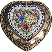 Late Victorian Era Micro Mosaic Box Rare Heart Shape