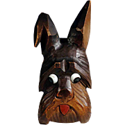 Hand Carved Brush or Pen Holder Scottie