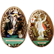 Lovely Display Easter Egg Dresdner Pappe Wax  Jesus  Paperolles