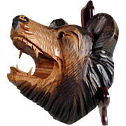 Rare Hand Carved Brush Holder Bear Head Black Forest