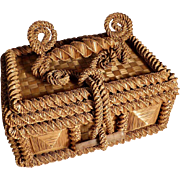 Old Hand Crafted Braided Straw Sewing Box