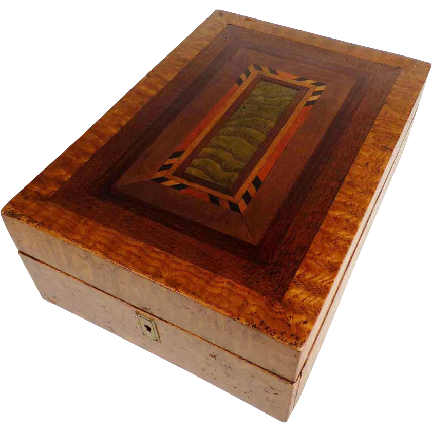 Victorian Era Treen  Jewelry Box Superb Marquetry ca. 1850