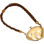 Lovely Shell Mother of Pearl Purse w Hair Chain Faith, Hope and Charity